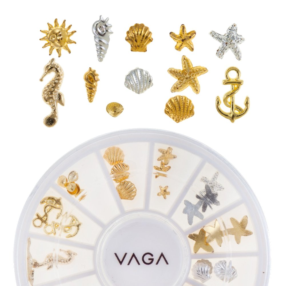 Professional High Quality Manicure 3D Nail Art Decorations Wheel With Metal Nailart Studs In Silver And Golden Colours And 8 Different Designs By VAGA