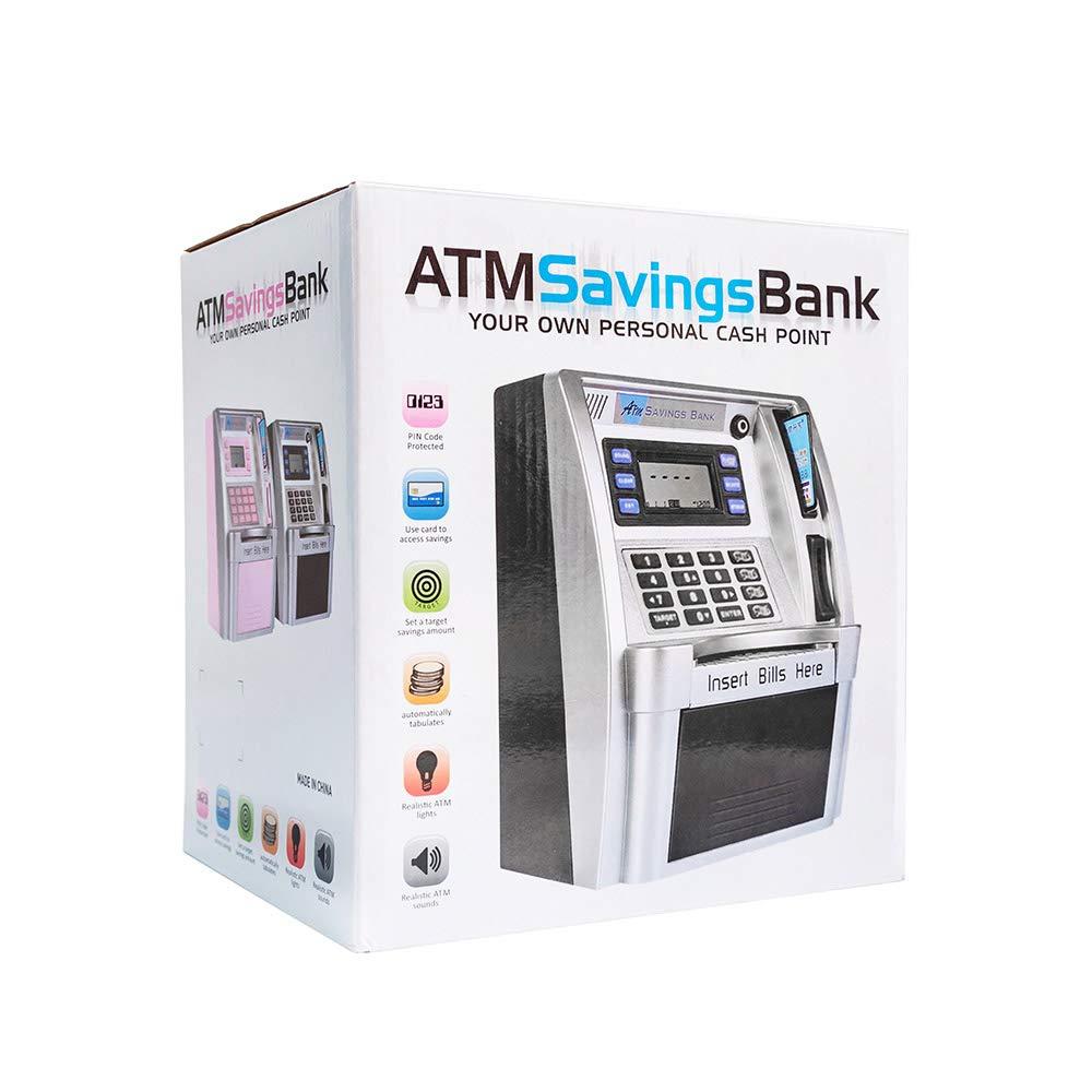 LB Children Kids ATM Savings Bank Electronic Mini ATM Piggy Bank Cash Coin Educational Toys for Boys Birthday Gift