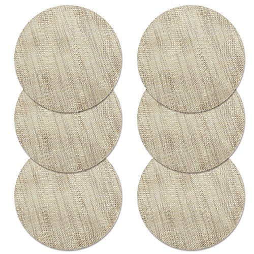 U'Artlines 14 Inch Round Place Mat for Kithen Table Heat Insulation Stain-resistant Washable Vinyl Placemats Set of 6 (Round, Cream) for $<!--$13.99-->