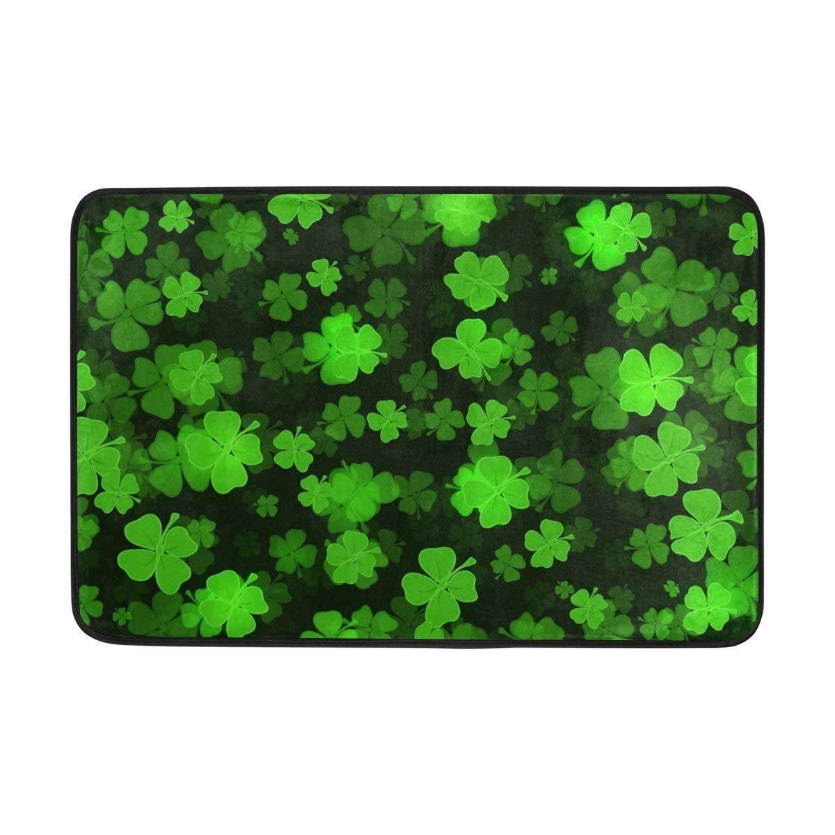 Happy St Patrick's Day Clover Shamrock Green Doormats Floor Mats Shoe Scraper for Home Indoor Entrance Way Front Door 23.6 by 15.7 Inches 40 x 60 cm Haipaul