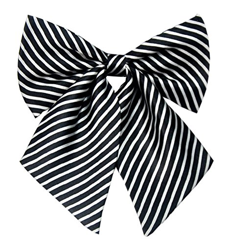- Women Japanese School Uniform Embroidery Bowties (one size, Black Narrow Stripes)