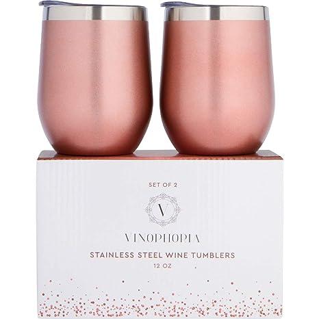 Amazon.com: Vinophoria – Juego de vasos de vino de acero ...