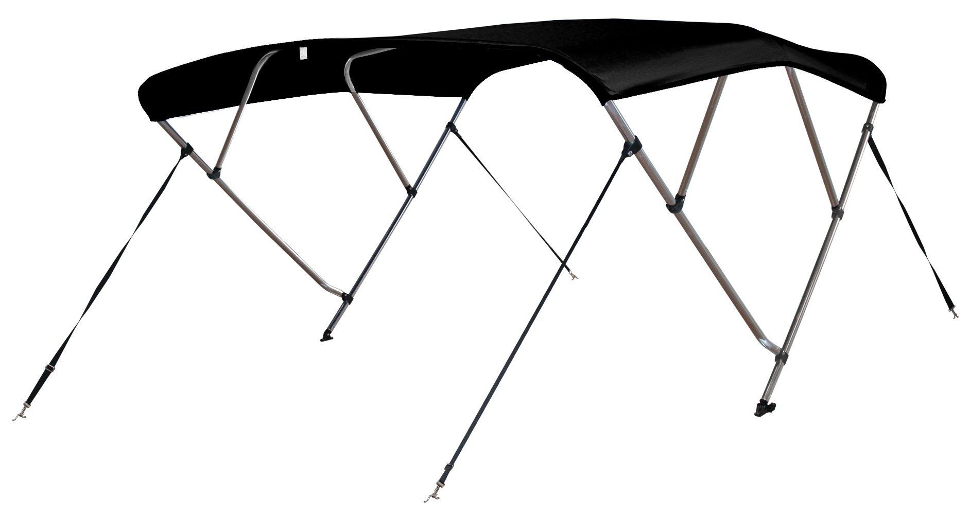 Leader Accessories 4 Bow Bimini Tops Boat Cover 4 Straps for Front and Rear Includes Hardwares with 1 Inch Aluminum Frame (Black, 8'L x 54'' H x 54''-60'' W) by Leader Accessories