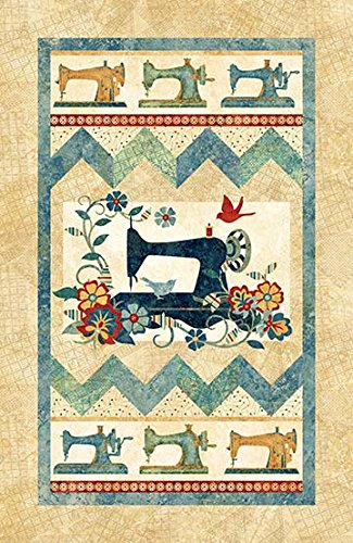 A Stitch in Time Teal Sewing Machine Panel 28 X 44 Cotton Fabric Northcott 22098-69