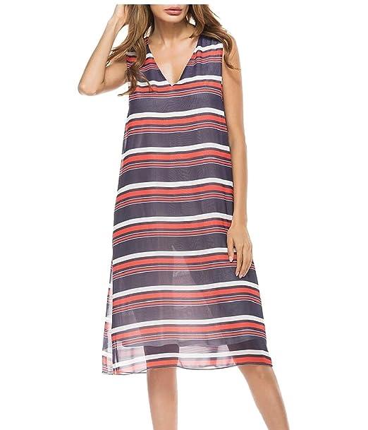 a7ba1ade55bd Gocgt Women V Neck Sleeveless Striped Printed Loose Night Club Summer Dress  Purple XS