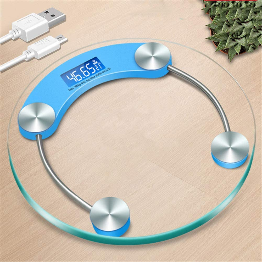 Clear Glass LED Digital Bathroom Personal Weight Scale Body Fat Electronic Scale Blue