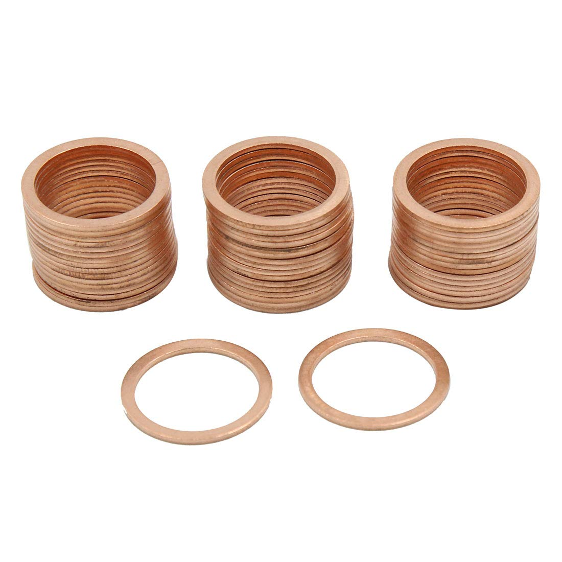 X AUTOHAUX 18mm Inner Dia Copper Crush Washers Flat Car Sealing Plate Gaskets Rings 50pcs by X AUTOHAUX (Image #1)