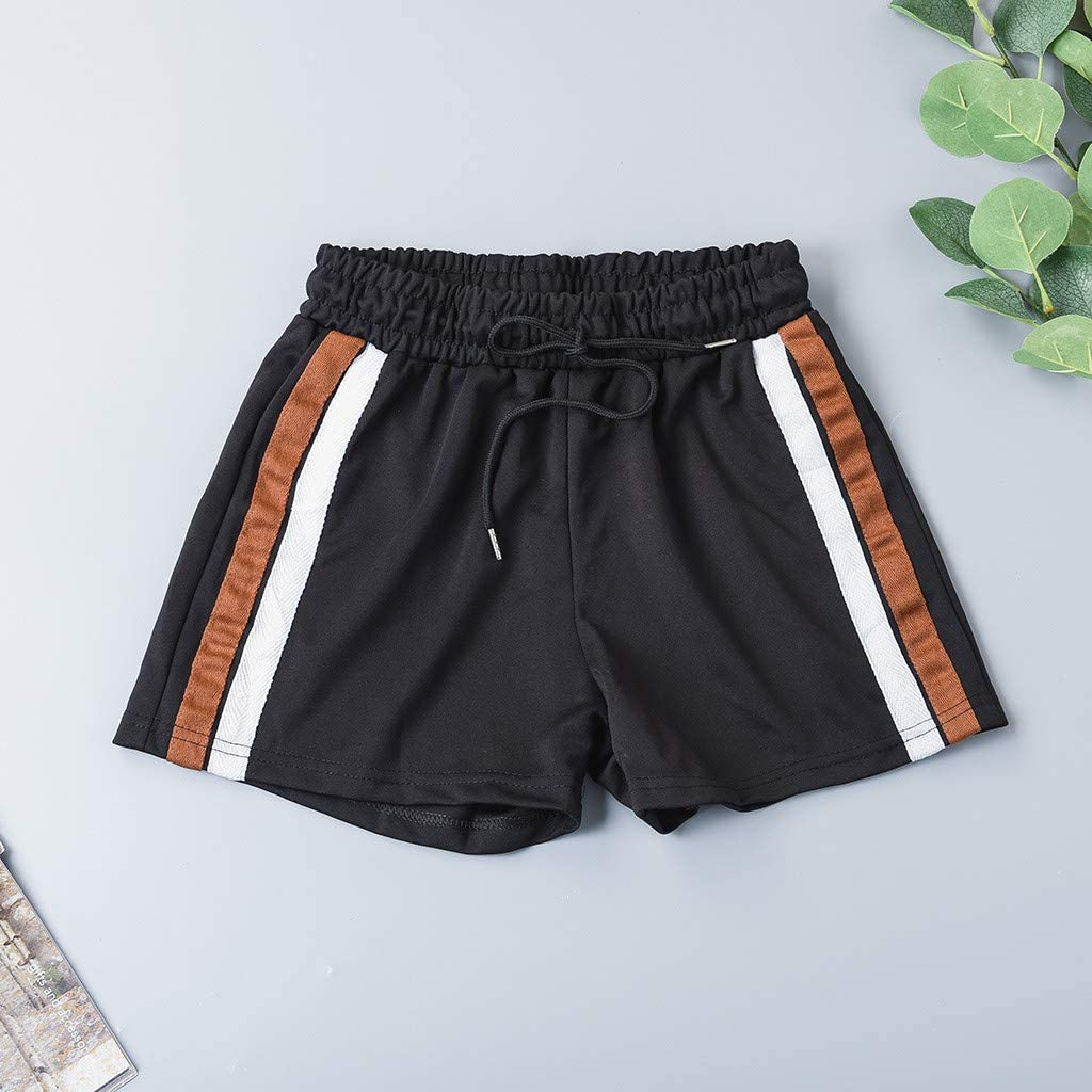 meidexian888 Womens Striped Elastic Wasit Drawstring Tie Pocket Casual Shorts Pants Black