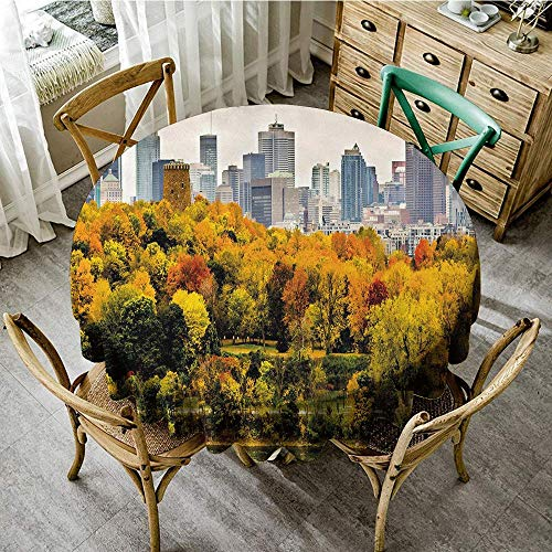 DONEECKL Polyester Tablecloth Fall Montreal Downtown Skyscrapers Autumn Various Trees Colorful Forest Urban Life Nature Washable Tablecloth D55 Multicolor ()