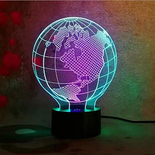 3D Lámpara De Escritorio 3D Globo Terráqueo Led Visual Colorido ...
