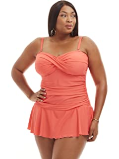 9f5f998e36 Always For Me Women's Plus Size Ruched One Piece Swimdress - Ladies'  Bathing Suit &