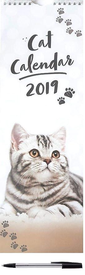 2019 gatos gatitos alto delgado calendario de pared lindo regalo de Navidad cumpleaños