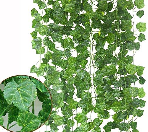 Echodo 82 Ft Artificial Ivy Leaf Garland Fake Hanging Plants Grape Silk Ivy Vine Garlands Wall Crafts Christmas Party (Grape Leaf Vine)