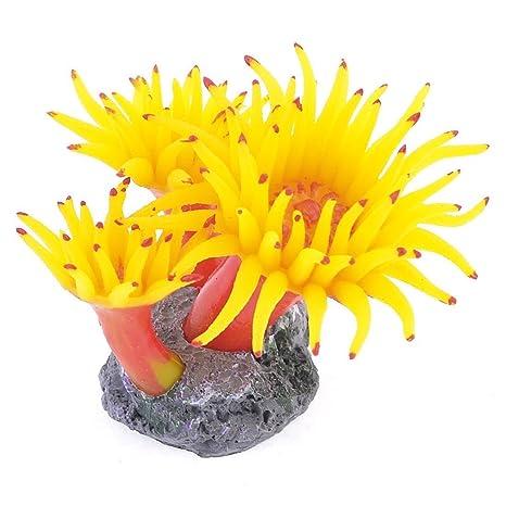 SODIAL(R) Decoracion de Planta Coral Anemona de Silicona con Base de Concreto para