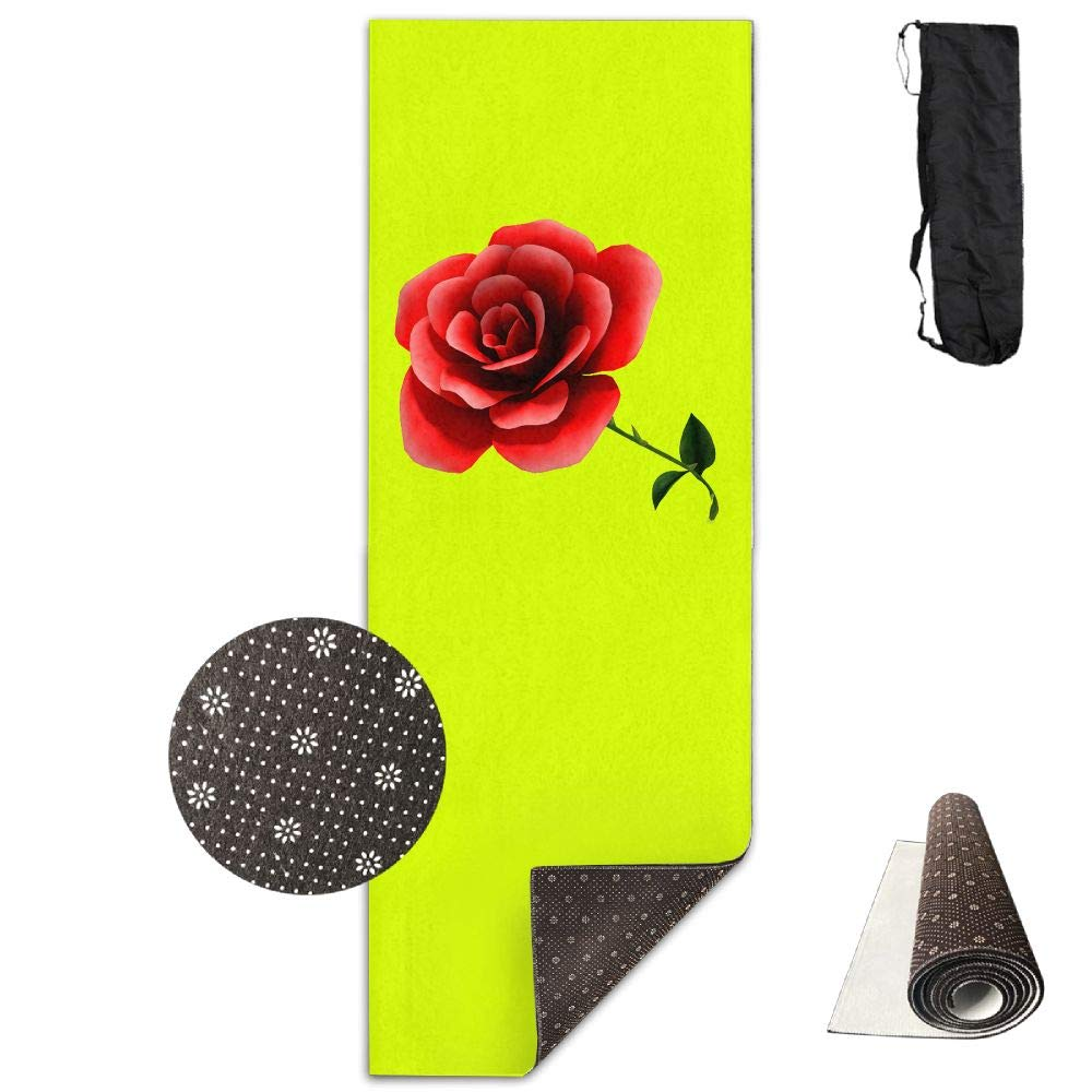 Bghnifs Flower-3D Rose -Green Printed Design Yoga Mat Extra Thick Exercise & Fitness Mat Fit Yoga,Pilates,Core Exercises,Floor Exercises,Floor Exercises