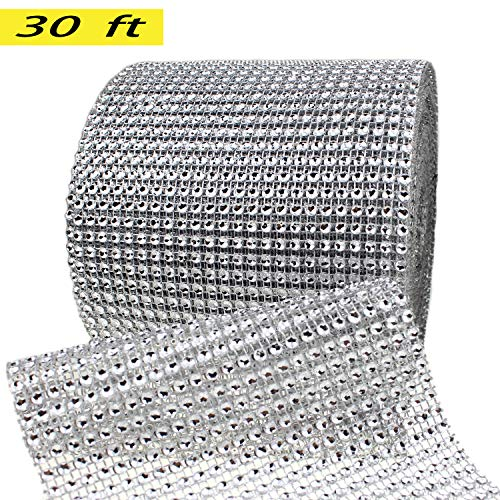 Silver Diamond Rhinestone Ribbon Bling Wrap Bulk DIY- Birthday,Bridal/baby Shower,Wedding Cake,Arts & Crafts Vase Decorations, Party Supplies 30 Feet/Roll by New Sheep ()