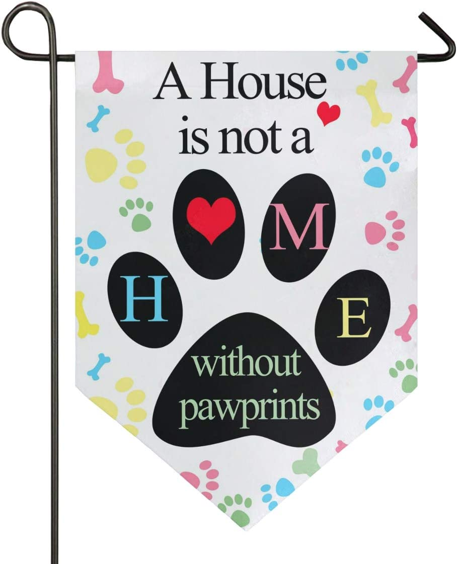 Oarencol A House is Not Home Without Pawprints Animal Bones Garden Flag Double Sided Home Yard Decor Banner Outdoor 12.5 x 18 Inch