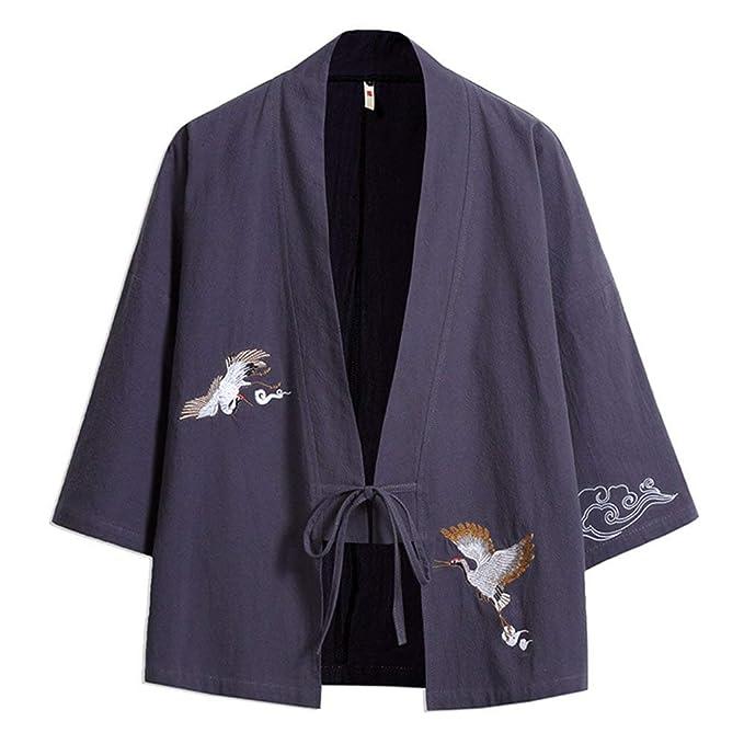 Betrothales Capa Bordado Verano Hombre Chaqueta Cazadoras Manga Casual Kimono para Abrigos para Jóvenes 3/4 Abierta Sari Abierto con Cordón Chaqueta Haori: ...