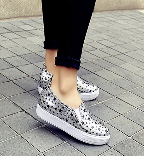 Aisun Kvinners Trendy Stilige Stjerne Plattform Elastisk Slip På Loafers Grå
