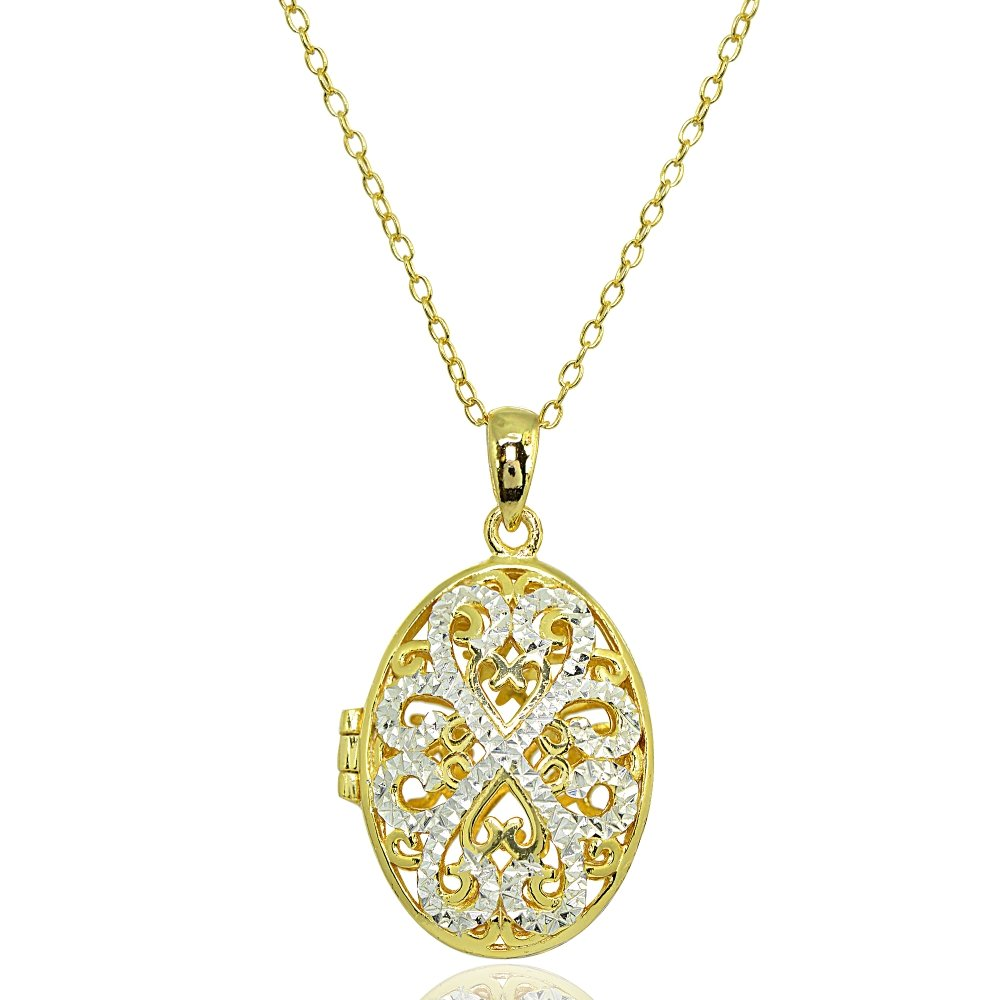 Sterling Silver Polished Diamond-Cut Oval Filigree Picture Locket Necklace Hoops & Loops