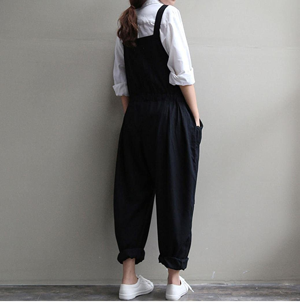 c3f4984507c Amazon.com  Qisc Women Pants Womens Casual Loose Cotton Linen Bib Baggy  Overalls Jumpsuit Pants Plus Size Romper Bib Trousers  Clothing