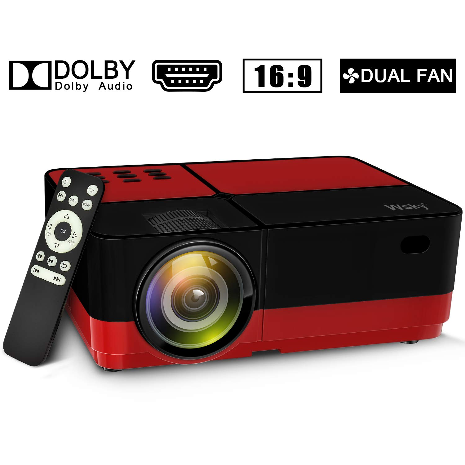 Wsky 2019 Newest LCD LED Outdoor Portable Home Theater Video Projector, Support HD 1080P Best for Outdoor Movie Night, Family, Compatible with Phone, PS4, Xbox, HDMI, USB, SD(Red) by Wsky