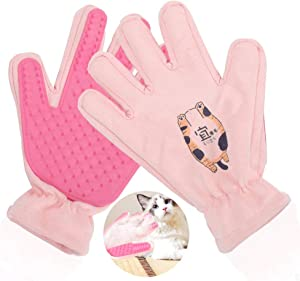 Bluleki Pet Grooming Gloves- Left & Right - for Cats, Dogs & Horses - Hair Remover Glove - Massage Tool with Enhanced Five Finger Design - cat Hair Remover- Ninja Glove