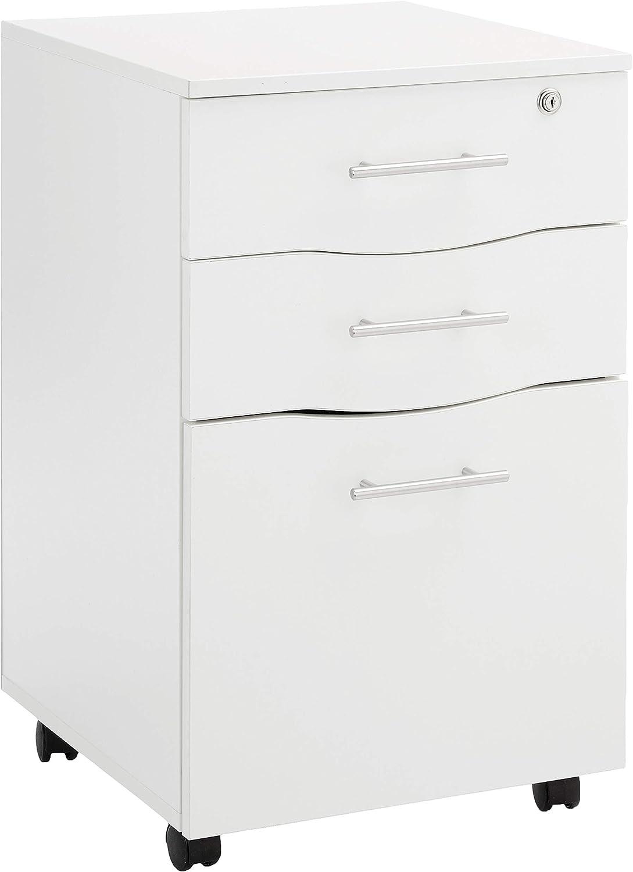 Mobile 36 Drawer Lockable White Under Desk Pedestal Unit A36 Suspension File  Hangers in Bottom Drawer