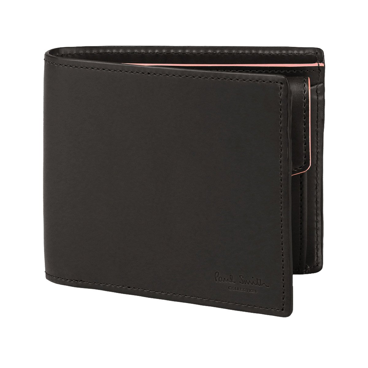 [名入れ可] Paul Smith ポールスミス レザー ウォレット PCボックスカーフ 二つ折り財布 本革 B0719C873W 名入れなし ブラック ブラック 名入れなし