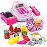OUYAWEI Kids Simulation Cash Register Calculator Cashier with Microphone and Sounds Pretend Play Toys
