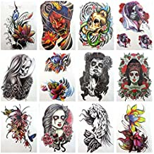 "12 sheets large 8.25"" temporary arm tattoo wholesale flower sugar skull"