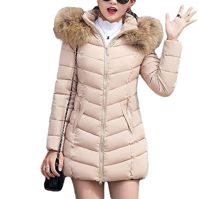 TianBin Abrigo con Capucha Acolchado Slim Casual Color Sólido Largo Invierno  Parka Chaqueta para Mujer ( 3a0a1824a6db