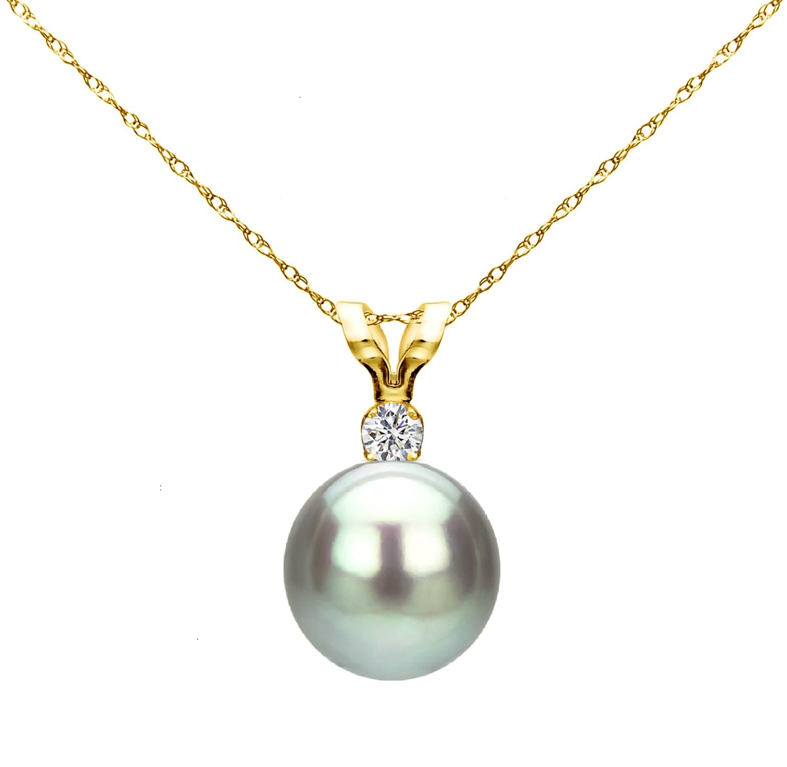 14k Yellow Gold 7-7.5mm Dyed-grey Round Freshwater Cultured Pearl Bunny Pendant 1/100cttw Diamond, 18''