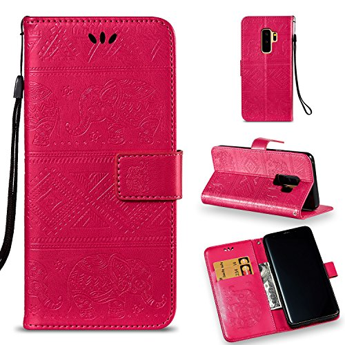 Emerge 3' Usb - Galaxy S9 Plus Wallet Case, KMISS Premium Emboss Elephant [Kickstand Feature] Flip PU Leather Wallet Protective Case Cover Card Slot Samsung Galaxy S9 Plus (Red)
