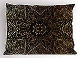 Lunarable Mandala Pillow Sham, Large Asian Flower Spiritual Harmony Theme Arabian Artistic Elements, Decorative Standard Size Printed Pillowcase, 26 X 20 inches, Black Yellow Pale Yellow