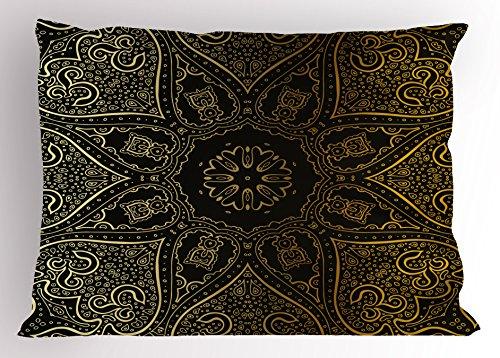 Lunarable Mandala Pillow Sham, Large Asian Flower Spiritual Harmony Theme Arabian Artistic Elements, Decorative Standard Size Printed Pillowcase, 26 X 20 inches, Black Yellow Pale Yellow by Lunarable