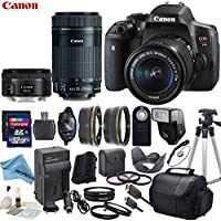 Canon EOS T6i Digital SLR Camera with EF-S 18-55mm STM Lens & EF-S 55-250mm STM Lens & EF 50mm f/1.8 STM Lens with eDigitalUSA Premium Kit - International Version