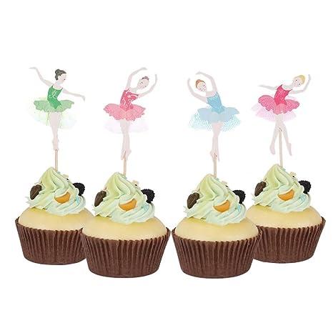 Toogoo 24 Piezas De Bailarina Nina Cupcake Decoracion De Fiesta De