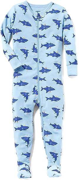 Toddler Boys Blue Birthday Shark Print Cotton Footed Pajama Sleeper