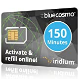 BlueCosmo Iridium 150 Min Prepaid Global SIM Card - Satellite Phone Airtime - 60 Day Expiry - No Activation Fee - No Monthly Fee - Refillable - Rollover - Easy 24/7 Online Activation and Refills (Color: 3: 150 Minute / 60 Day, Tamaño: Prepaid Airtime)