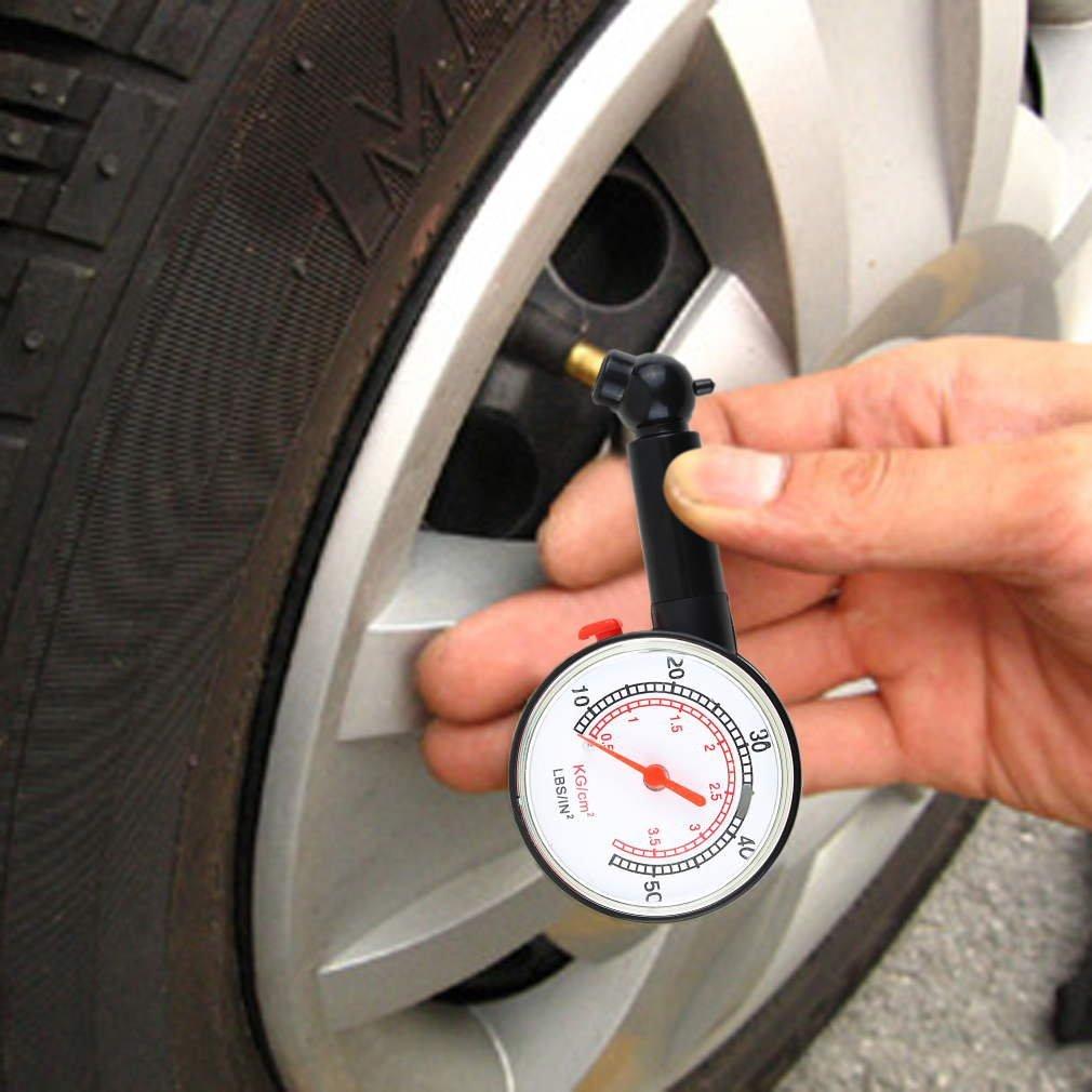 73JohnPol Voiture v/éhicule Moto v/élo Cadran jauge Pneu Compteur Pression Camion Moto v/élo Outil de Mesure de pneus Couleur: Noir