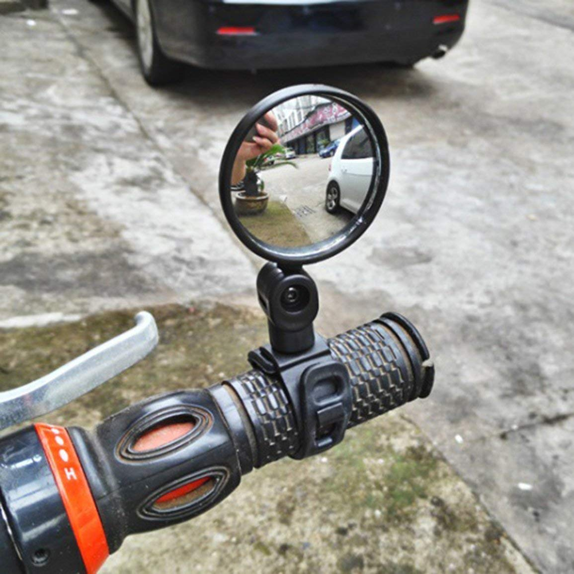Garciakia Small Round Rearview Mirror For Mountain Bike And Silicone Handle