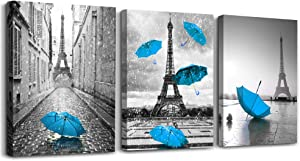 Black and white building Blue umbrella 3 Pieces Framed Wall Art for Living Room Bathroom Wall Decorations Kitchen Wall decor modern Poster Canvas Print Office Bedroom Home Decoration wall paintings