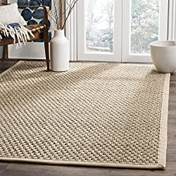 Safavieh Natural Fiber Collection NF114A Basketweave Natural and Beige Summer Seagrass Square Area Rug (4' Square)