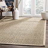 Safavieh Natural Fiber Collection NF114A Basketweave Natural and Beige Summer Seagrass Area Rug (9' x 12')