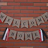 Welcome Home Banner Burlap with Tassel for Housewarming Patriotic Military Homecoming Return from Deployment Mantle Party Supplies Decoration