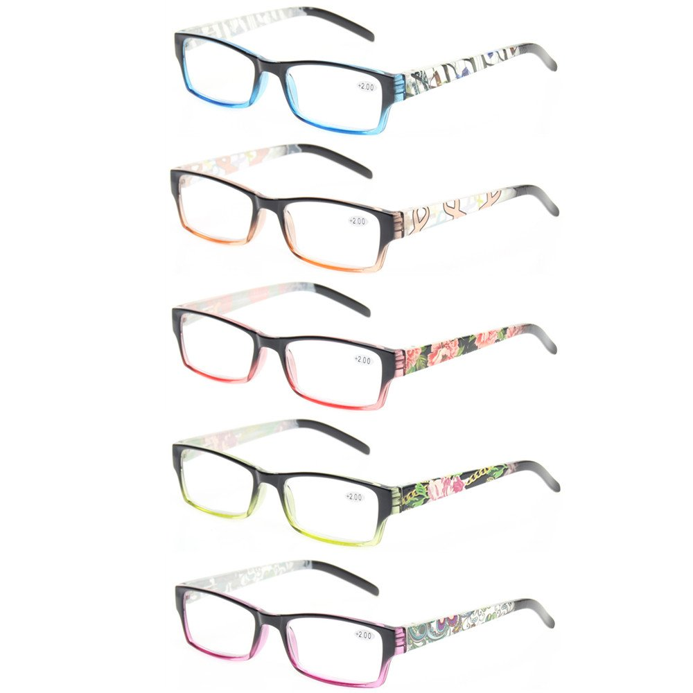 Reading Glasses 5 Pack Fashion Spring Hinge Readers With Beautiful Patterns for Men Women (5 Pack Mix Color, 6.00)