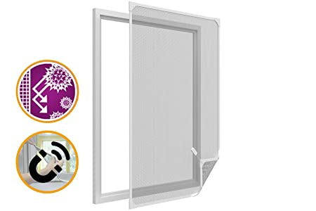 Fixed Frame Removable Window Fly Screen With Magnetic Adjustable In Height  And Width, White PVC