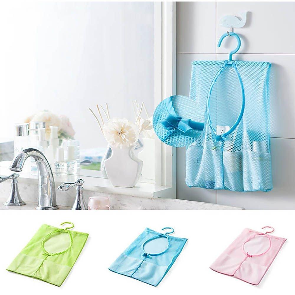 Mesh Hanging Storage Bag Space Saver Organizer with Hook Kitchen Bathroom -Blue
