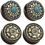 Zaya Body Jewelry 2 Pairs Black Wood Tribal Turquoise Flower Wood Ear Plugs Tunnels 0g 1/2 9/16 5/8 3/4 7/8 1 Inch (7/8 22mm)